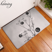 Homing Durable Waterproof Entrance Door Mats Brief White Black Plant Pattern Rugs Colorful Kitchen Bedroom Foot Pads Home Decor