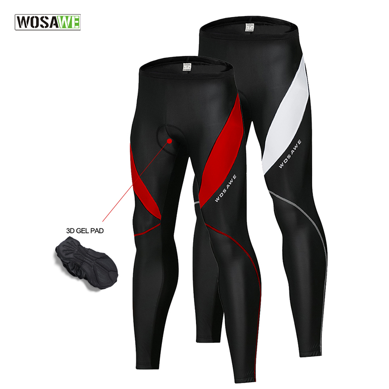 WOSAWE Mens Cycling Tights Winter Thermal Cold Wear Gel Padded Legging Bike Pants Cycling Trouser