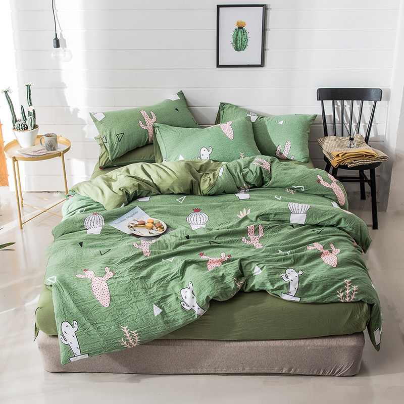 Home Textile Fashion cactus comfortable breathable Muji washed cotton Quilt cover Sheet pillowcase green twin king bedclothesHome Textile Fashion cactus comfortable breathable Muji washed cotton Quilt cover Sheet pillowcase green twin king bedclothes