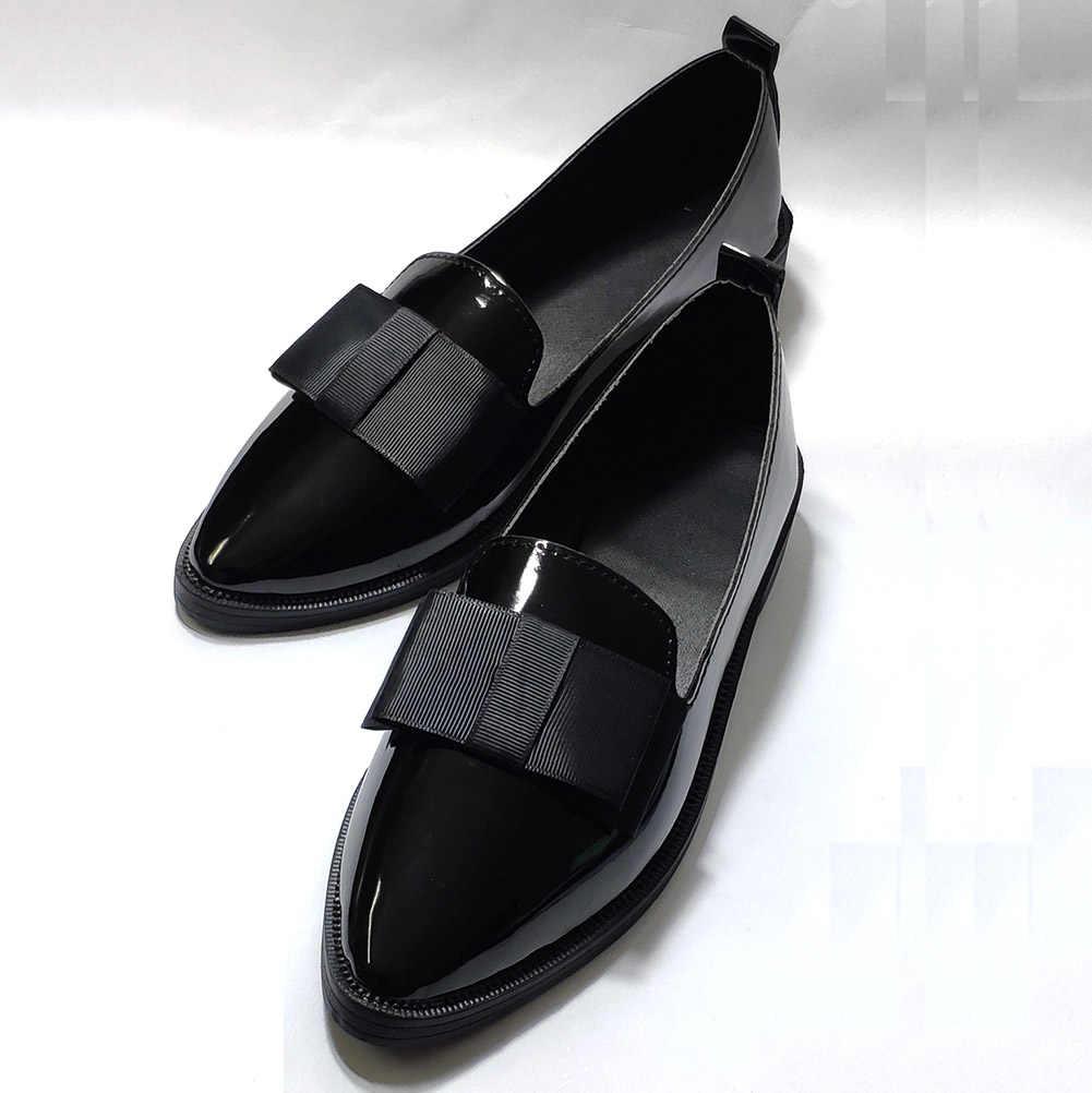 Charol Penny mocasines mujer zapatos planos deslizamiento en Punta puntiaguda moda Oficina carrera trabajo fiesta boda señoras vestido zapatos