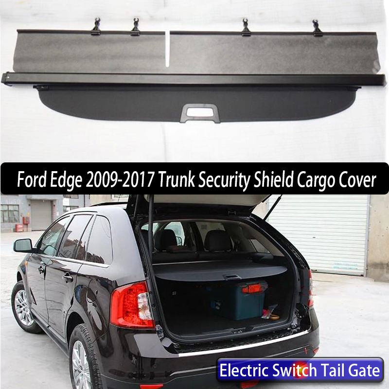 Car Rear Trunk Security Shield Cargo Cover For Ford Edge 2009-2016 Electric Switch Tail Gate SHELF SHADE TRUNK RETRACTABLE 2016 2017 rear cargo retractable trunk cover for kia sportage