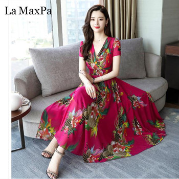 Good Quality Elegant V Neck Long Dress 2019 New Women Summer Dress Vintange Floral Print Chiffon Dress Plus Size Women Clothing 1