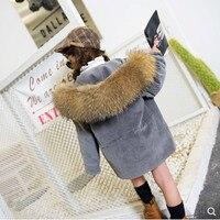 JKP 2018 вельвет детская мех кролика Рекс волосы девушка для преодоления детские пальто с мехом для мальчиков теплая зима
