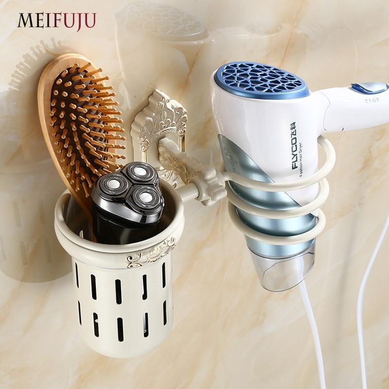 MEIFUJU Black Bathroom Aluminium Wall Mount Hair Dryer Holder Antique Salon Bathroom Mounted Drier Comb Rack Storage White Shelf стоимость