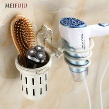 MEIFUJU Black Bathroom Aluminium Wall Mount Hair Dryer Holder Antique Salon Mounted Drier Comb Rack Storage White Shelf