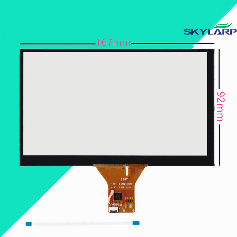 New 6.95 Capacitive Touch Panel 167x92mm for 1024x600 Android Car DVD GPS Replace Screen touch panel Glass Free shipping