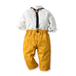 Image 2 - Ropa de niño pequeño, camisa blanca + Pantalones amarillos, traje para niño de 1 a 6 T, traje de otoño, conjunto de ropa infantil con lazo amarillo