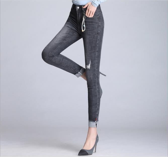 Gris poche patché Crop Skinny Jeans pour les femmes décontracté Denim pantalon 2019 automne taille moyenne femmes bouton mouche pantalon