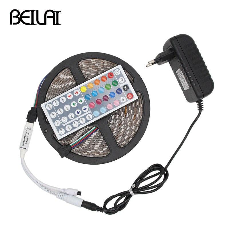SMD 5050 DC12V Waterproof 300LEDs 5M Fita De LED Strip Light Tiras RGB LED Tape Flexible