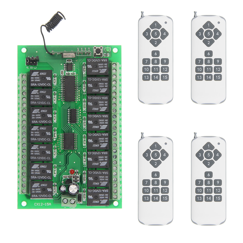 DC 12V 24V 15 CH Channels 15CH RF Wireless Remote Control System,(Receiver+4 X Transmitters),315/433.92,Momentary new restaurant equipment wireless buzzer calling system 25pcs table bell with 4 waiter pager receiver
