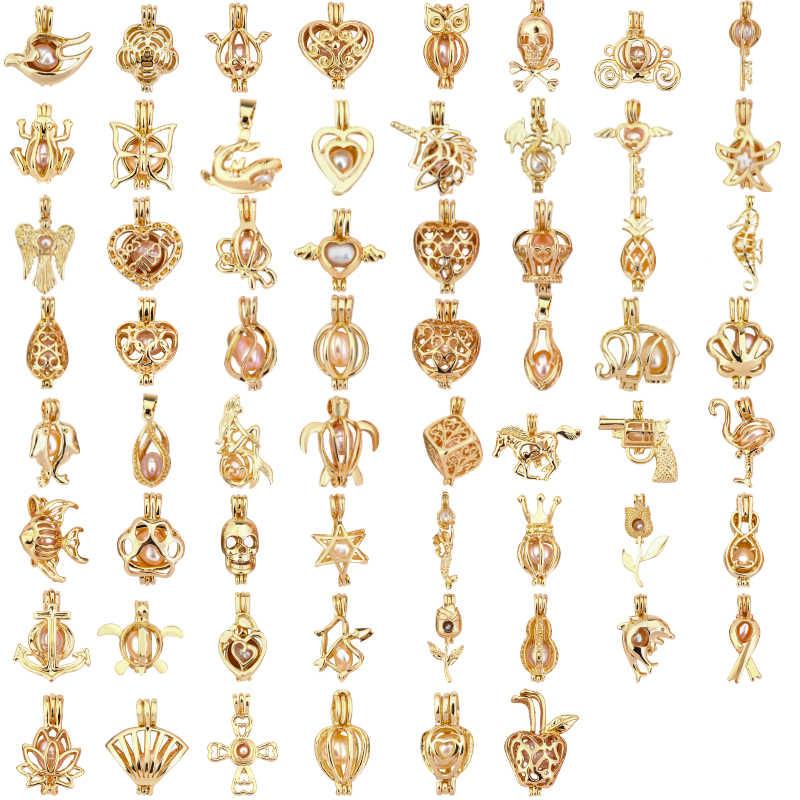 Meer Dan 50 Stijlen Gouden Parel Kooi Medaillon Hanger Sieraden Bevindingen Kooi Essentiële Olie Diffuser Medaillon Voor Oester Parel Ketting