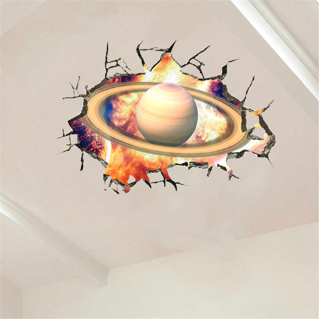 3D Wall Stickers Cosmic Galaxy Planet Wall Floor Decor Removable Wallpaper Mural Decals  PVC Wall Poster Ceiling Decoration