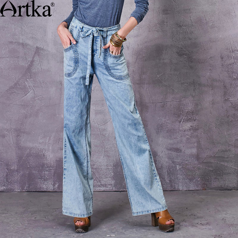 Artka Women's 2017 Spring Comfy Wide Leg Jeans Vintage High Waist Big Pockets All-match Jeans With Sashes KN10672C