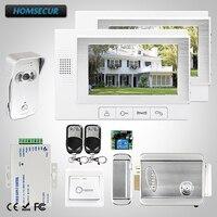 HOMSECUR 7 Проводной Видеодомофон безопасности Интерком Электрический Замок + Ключи в комплекте TC021 S + TM702 W