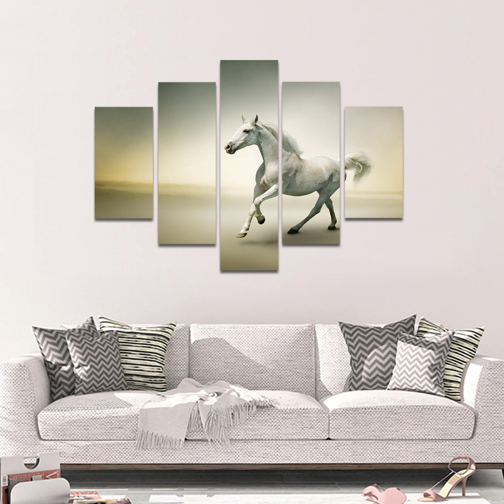 Unframed Canvas Animal Painting Run White Horses Picture Prints Wall Picture For Living Room Wall Art Decoration Dropshipping