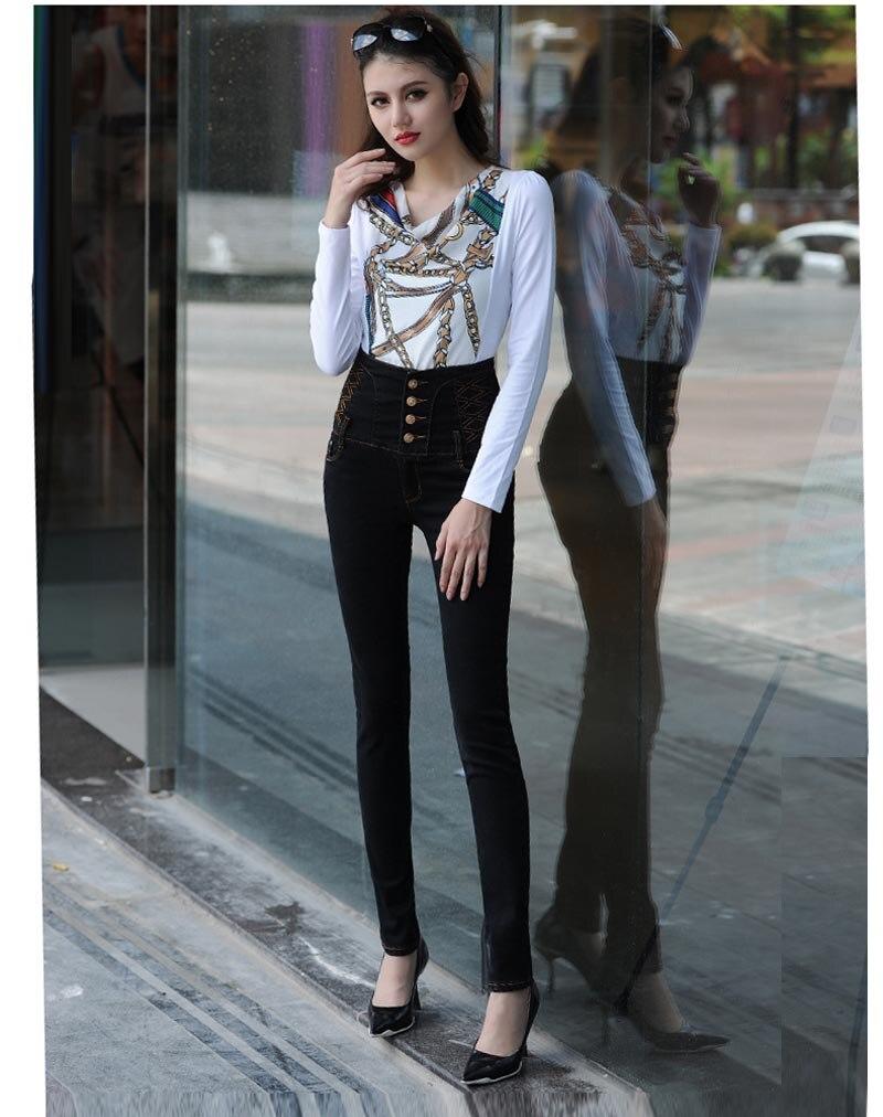 Plus Size Skinny Jeans 2016 New Women High Waist Jeans Femme High Waist Jeans Skinny Slim Jeans Fit Pancil Pants nydj new optic white women s size 8 five pocket seamed slim skinny jeans $110