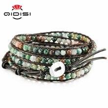 Для мужчин и женщин кожаный браслет уникальные смешанные природные камни Шарм 5 прядей обруча браслеты ручной работы Boho браслет Прямая поставка