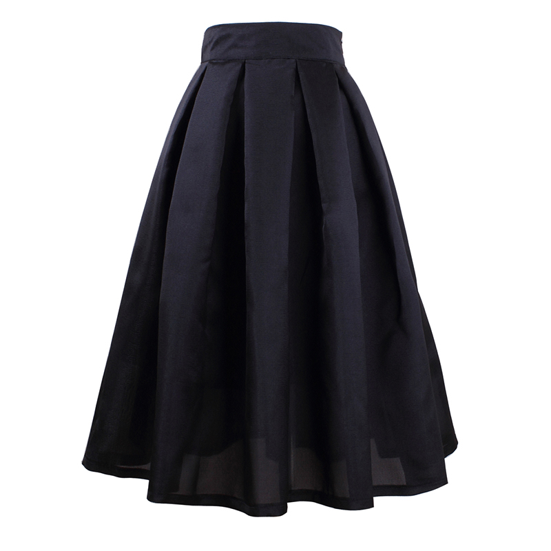 Skirts Womens With High Waist Pleated Fashion Skirt For 2018 Spring Retro Ladies Summer New Stylish Saias na altura do joelho