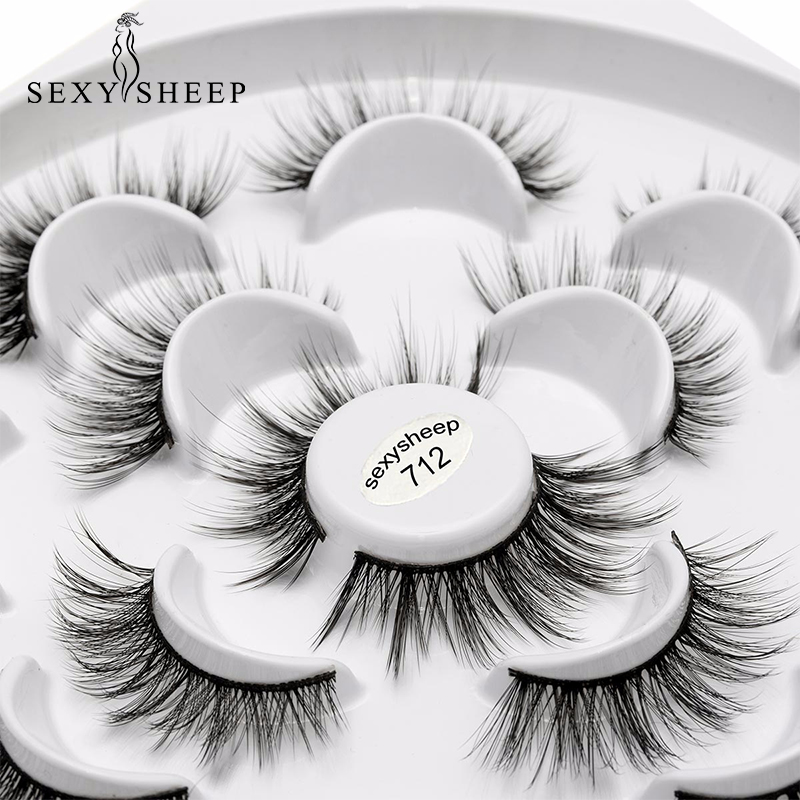 SEXYSHEEP 7pairs Faux 3D Mink Lashes Natural Long False Eyelashes 13style Lashes Soft Fake Eyelashes Extension Makeup Kit Cilios