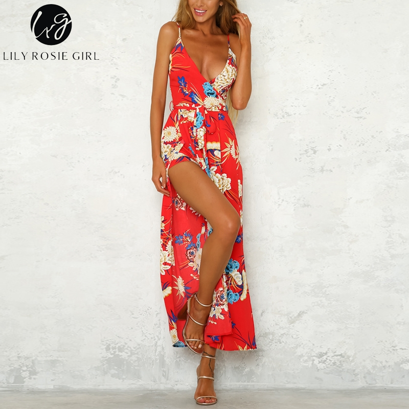 Lily Rosie Girl Print V-neck Sleeveless Beach Jumpsuit Romper Boho Strapless Jumpsuits Woman Summer Long Wide Leg Sexy Playsuit