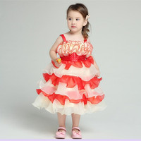 Free Shipping Suomenlinna Quality Products 2016 New Children's Wedding Christening Dress Princess Tutu Cake Dress 3 Colors