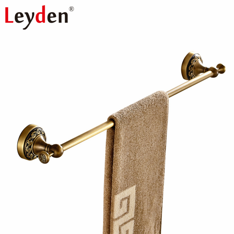 Leyden Antique Brass/ ORB Towel Bar Copper Single Towel Bar Wall Mounted Antique/ Black Towel Rail Retro Bathroom Accessories high quality towel racks brass 50 60cm antique towel rail copper wall mounted towel bar bathroom f503