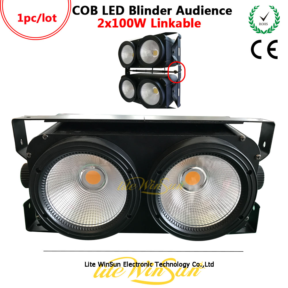Litewinsune 2Eyes 100W LED Audience COB Blinder Linkable Pixel DMX Console Theater Performance Light audience powerchord schuko 2 m