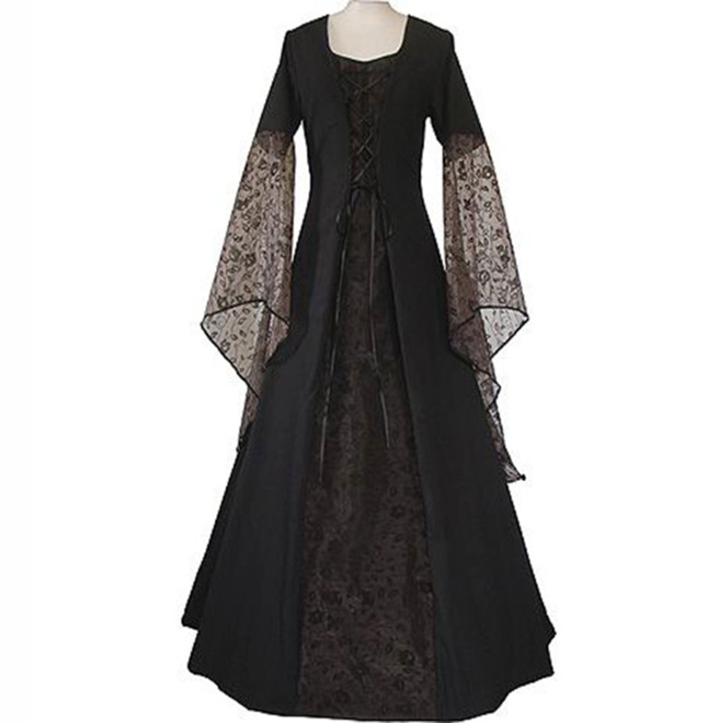 Renaissance Medieval Maxi Dress Women Vintage Floor Length Gown Gothic Dress Lolita Lace Flare Sleeve Retro Victorian Dress