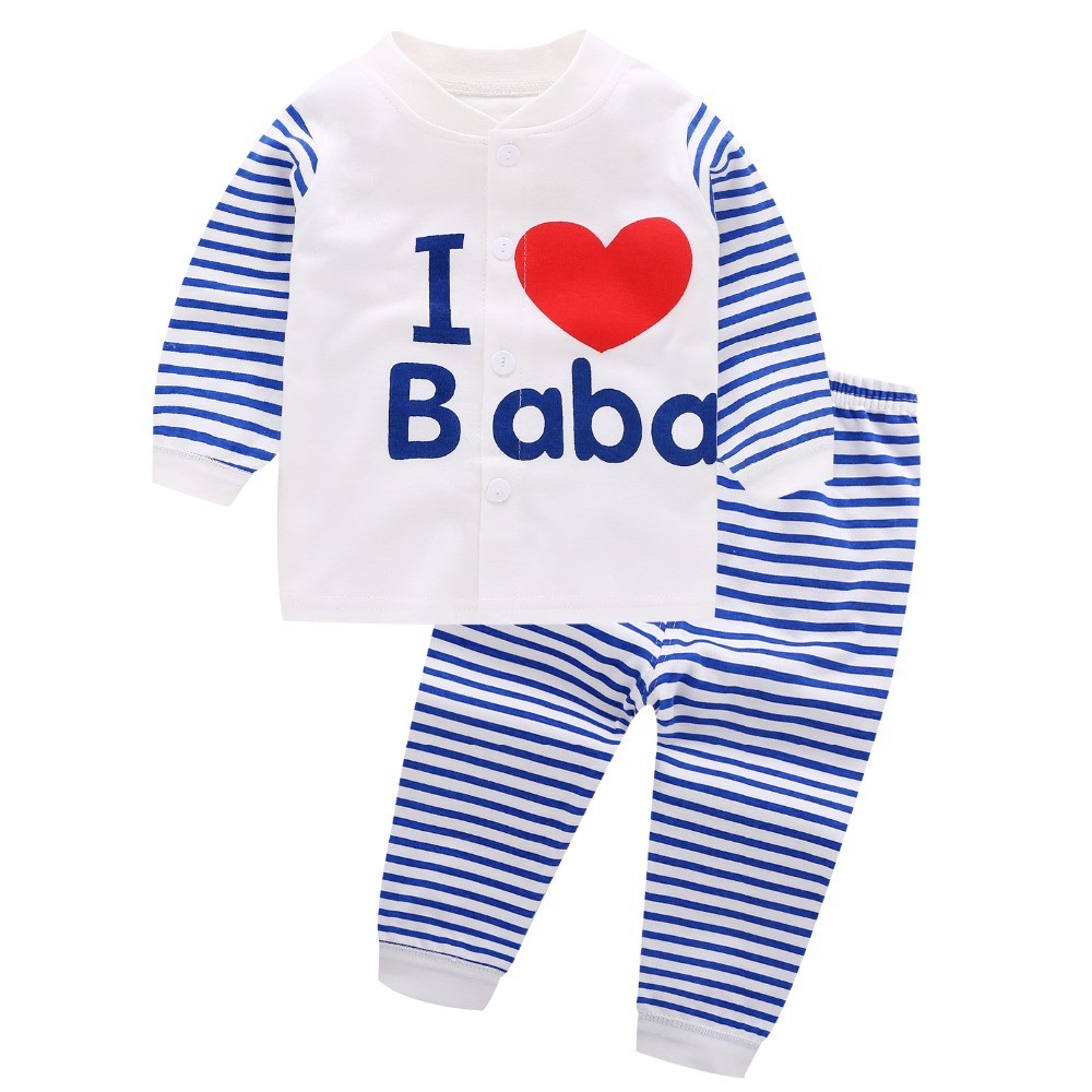 2 PCS Fashion Baby Boy Clothes Autumn Long Sleeve Clothing Set I Love Baba Mami Stripes Pajamas Newborn Outfit Suits Baby Girls