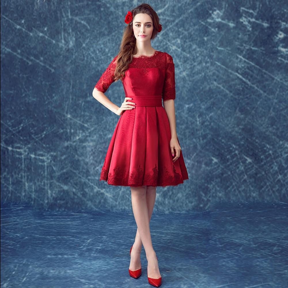 Short vestidos 2016 elegant wine red scoop half sleeves homecoming ...