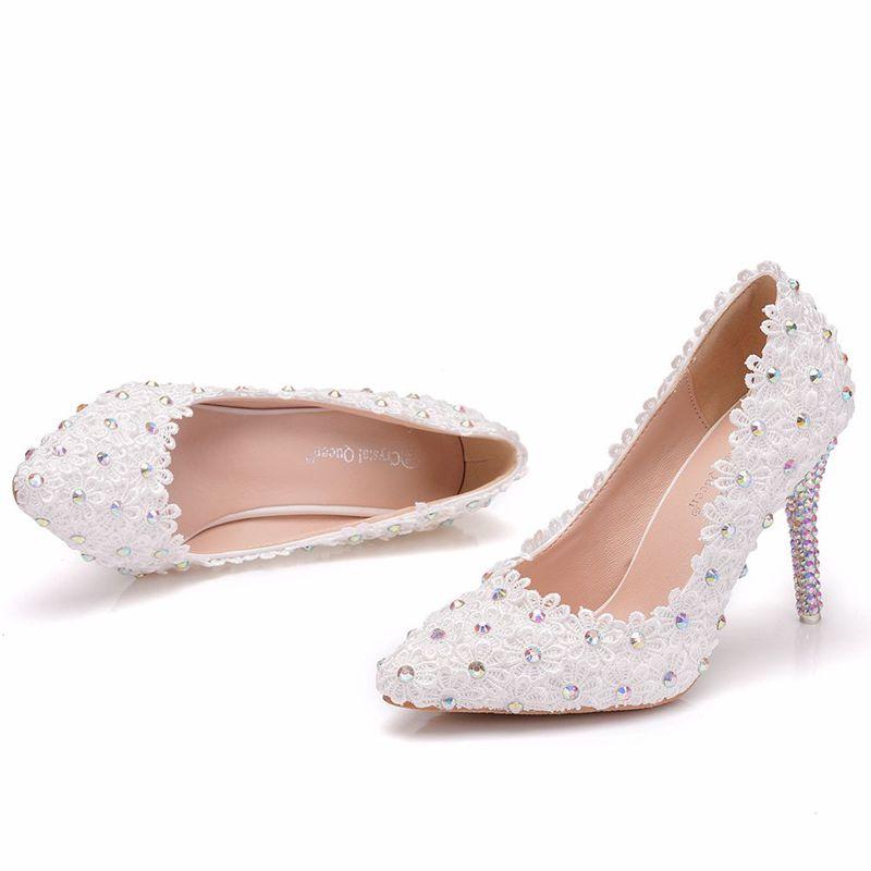 Punto Novia 9 Pies Dedos Cm Cristal Zapato Súper Brillante Zapatos Boda Nq159 De Blanco Alta Tacón Las Encaje Los Cena Fiesta Sexy Mujer Ab Señoras TA7qxw60aP