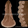 Wholesale bridal champagne lace embroidery long tail wedding dress veil