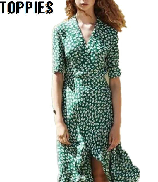 1d82cbfc02 Detail Feedback Questions about 2017 Women Summer Green Floral Printed Wrap  Dress Vintage Retro Ruffles Dresses with Bow Belts Female Midi Dress on ...