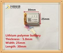 (Darmowa wysyłka) 3.7V 502530 400 mah akumulator litowo-polimerowy towary wysokiej jakości jakości CE FCC ROHS urząd certyfikacji
