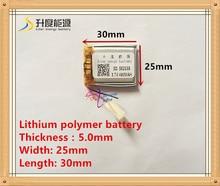 (משלוח חינם) 3.7 V 502530 400 mah ליתיום יון פולימר סוללה באיכות מוצרים באיכות של CE FCC ROHS הסמכת סמכות