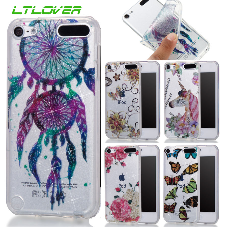For Apple iPod 5 Phone Bags Cartoon Bling Butterfly Transparent Silicone Phone Case For Apple iPod 6 Back Cover cases Fundas
