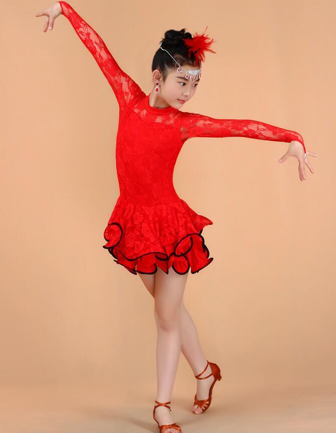 Кружевное платье с длинными рукавами для девочек, одежда для латинских танцев, стандартное детское платье для латинских танцев, детские костюмы для сальсы, бальных танцев - Цвет: Красный
