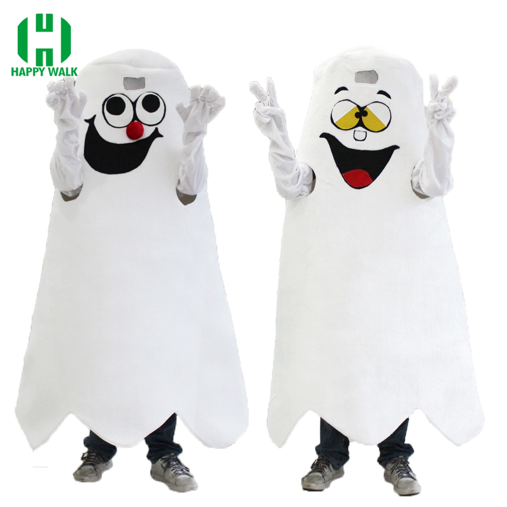 Halloween White Ghost Mascot Costume Adult Cartoon Ghost Theme Anime Cosplay Costumes Fancy Dress for Carnival Party