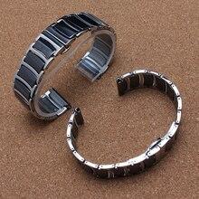 20 мм 22 мм черный керамическая из нержавеющей стали ремешок для часов ремешок браслеты серебристого металла наручные часы группа мода аксессуары ladys