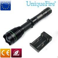 UniqueFire 1508-38mm-850nm LED פנסים כדי האנט  פנס 18650 + שני חריץ מטען שחור Invisiable אינפרא אדום אור משלוח חינם