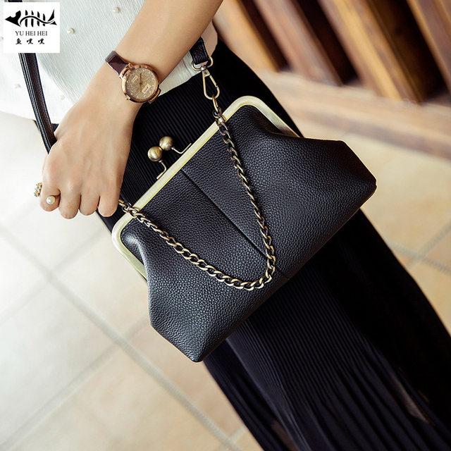a00e5e640eb9 Winter New Leather Women s Handbag Chain Tote Bags Lady Girl Vintage  Fashion Shoulder Cross Body Message