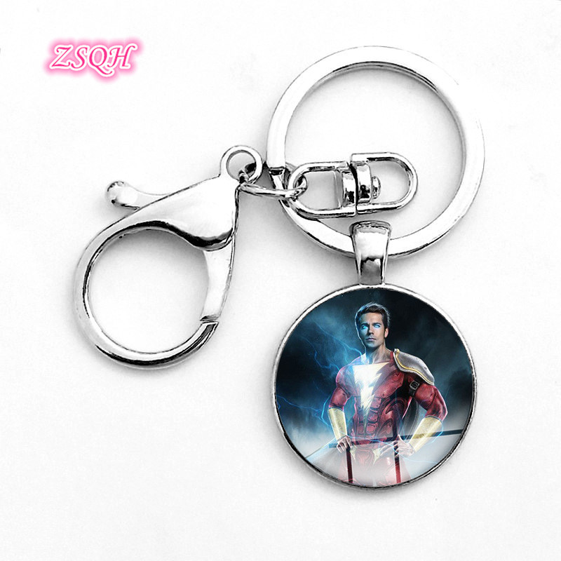 ZSQH Captain Marvel Shazam Billy Batson Superhero Party keychains fashion Gift Halloween Cosplay Pops Accessory For Kids Women