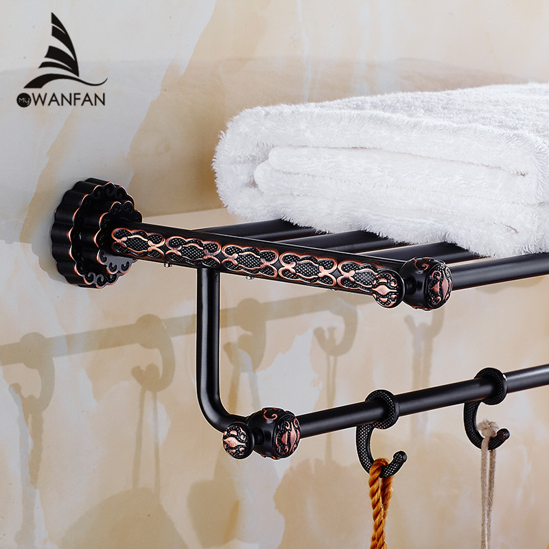 Bathroom Shelves 5 Towel Hooks Brass 2 Tier Rails Towel Bars Wall Shelf Bath Hangers Bathroom Accessories Towel Holder FE-8601 bathroom shelves dual tier brass wall bath shelf towel rack holder hangers rails home decorative accessories towel bar 9129k