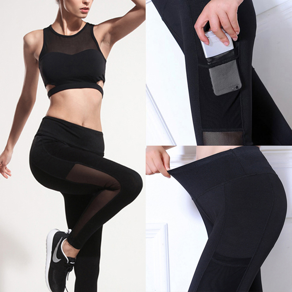 Women 39 s sports mesh leggings yoga pants Gym Workout legins Running sport Pants fitness Sexy Tights trousers for woman activewear in Yoga Pants from Sports amp Entertainment