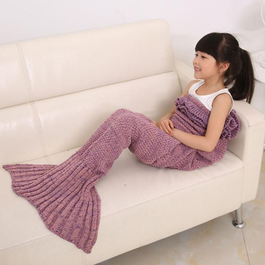 New Qualified Knitted Mermaid Tail Blanket Handmade Crochet Children Throw Bed Wrap Sleeping Bag dig0208
