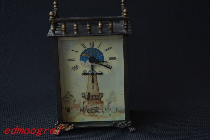 Rare ancienne dynastie Qing horloge royale en laiton \ montre de poche mécanique, peut travailler, avec marque, moulin à vent, livraison gratuite
