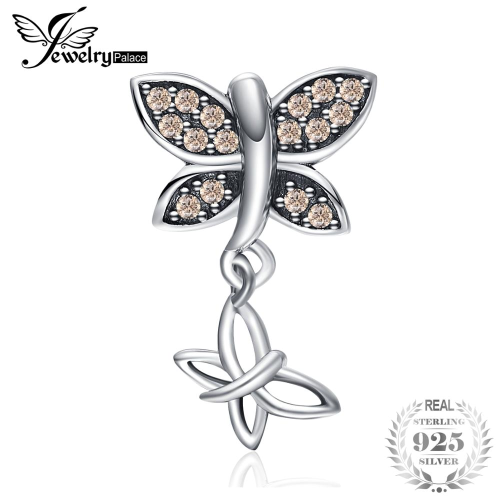 JewelryPalace 925 Sterling Silver Champagne Cubic Zirconia Butterfly Charm Beads Fit Bracelets New Hot Sale For Your LoverJewelryPalace 925 Sterling Silver Champagne Cubic Zirconia Butterfly Charm Beads Fit Bracelets New Hot Sale For Your Lover
