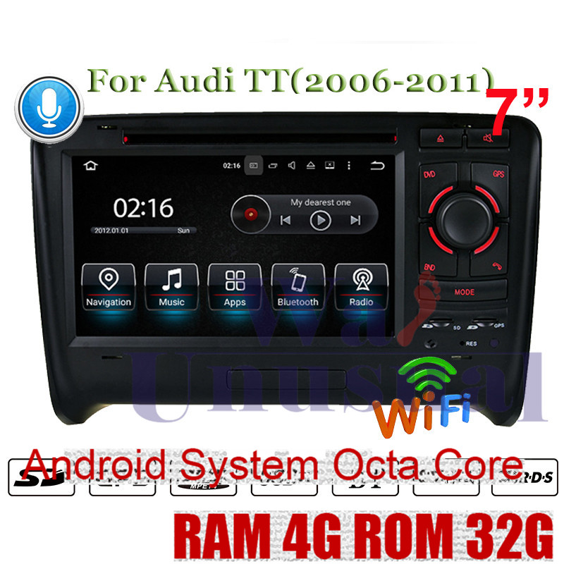 WANUSUAL Octa Core 32G Android 8.0 GPS Navigation For Audi TT (2006 2007 2008 2009 2010 2011) DVD Player Radio Medi Center 2 Din