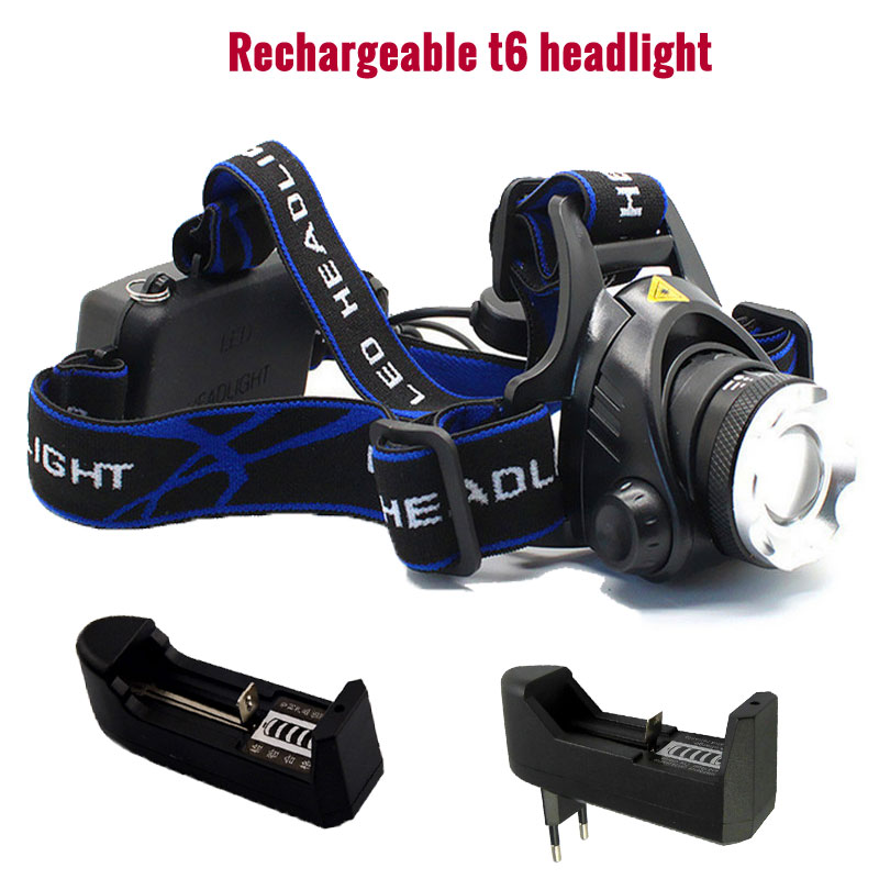 CREE T6 Headlamp Lantern Flashlight Headlight Rechargeable Head Torch Lamp Bike Light and Charger for Camping Fishing Running