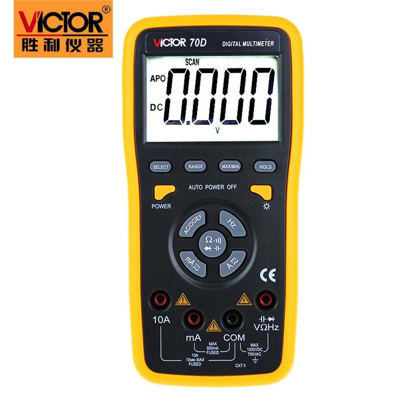 Fast arrival Digital Multimeter VICTOR 70D Automatic range intelligent digital multimeter with USB interface victor vc9805a  digital multimeter 2000